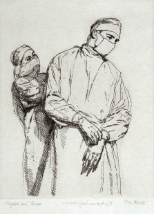 L0028811 A nurse and a surgeon, both wearing gown and mask. Etching b